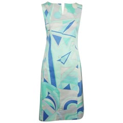 Emilio Pucci Blue & Aqua Cotton Print Sleeveless Dress - 38 F - 6 US
