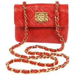 Chanel Red Leather Mini Classic Flap Bag