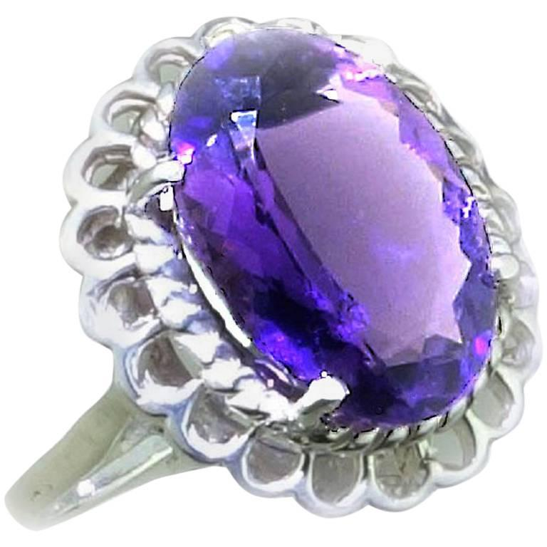 Amethyst Oval in Detailed Basket Sterling Silver Ring   For Sale