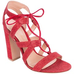 Gianvito Rossi Red Glitter Caged Lace Up Sandal Heels