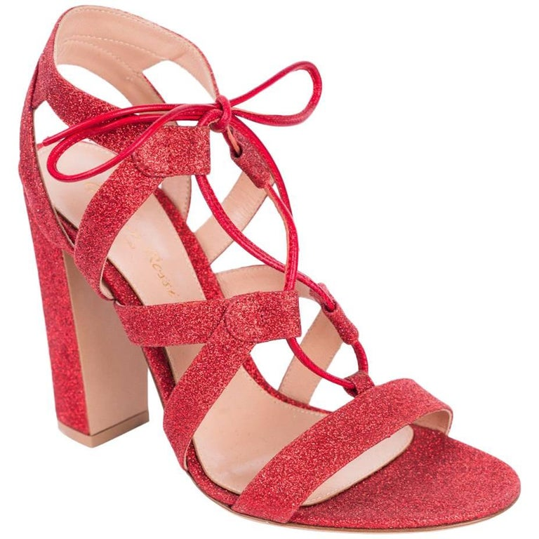 63285acaca6 Gianvito Rossi Red Glitter Caged Lace Up Sandal Heels For Sale at ...