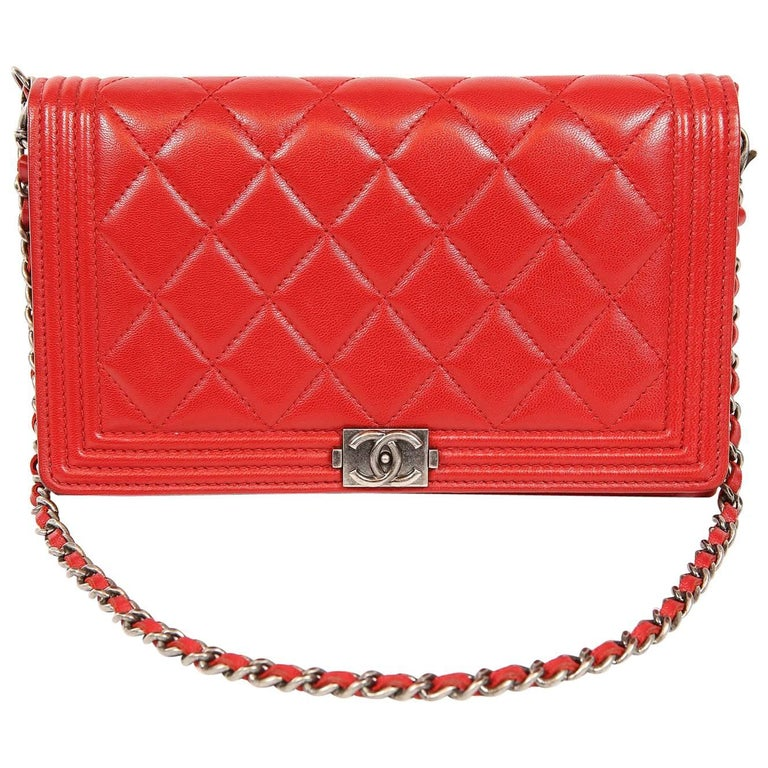 Chanel Red Leather Boy Bag Clutch with Chain