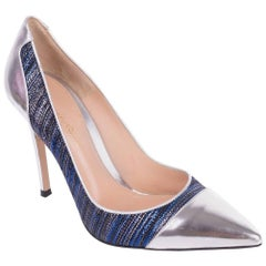 Roberto Cavalli Blue Black Lurex Metallic Tipped Leather Pump