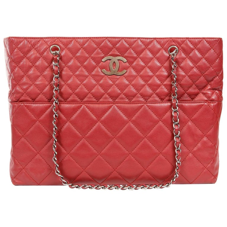 Chanel Red Leather XXL Tote Bag