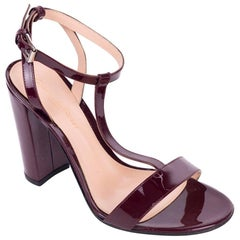 Gianvito Rossi Burgundy Patent Leather TStrap Block Heel Sandal