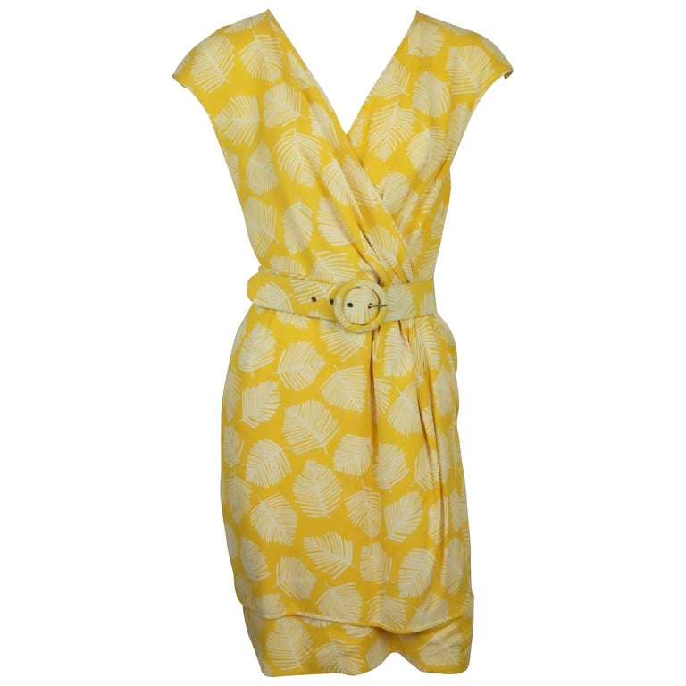 Valentino Yellow & White Cap Sleeve w/ Leaf Print - 8