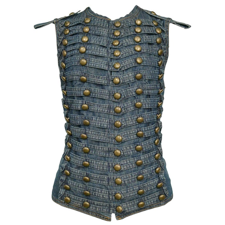 Vintage 1990s Plein Sud Denim Military Studded Vest