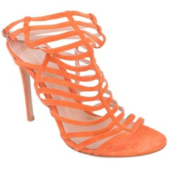 Gianvito-Rossi-Orange-Suede-Caged-Ankle-Strap-Stiletto-Sandals