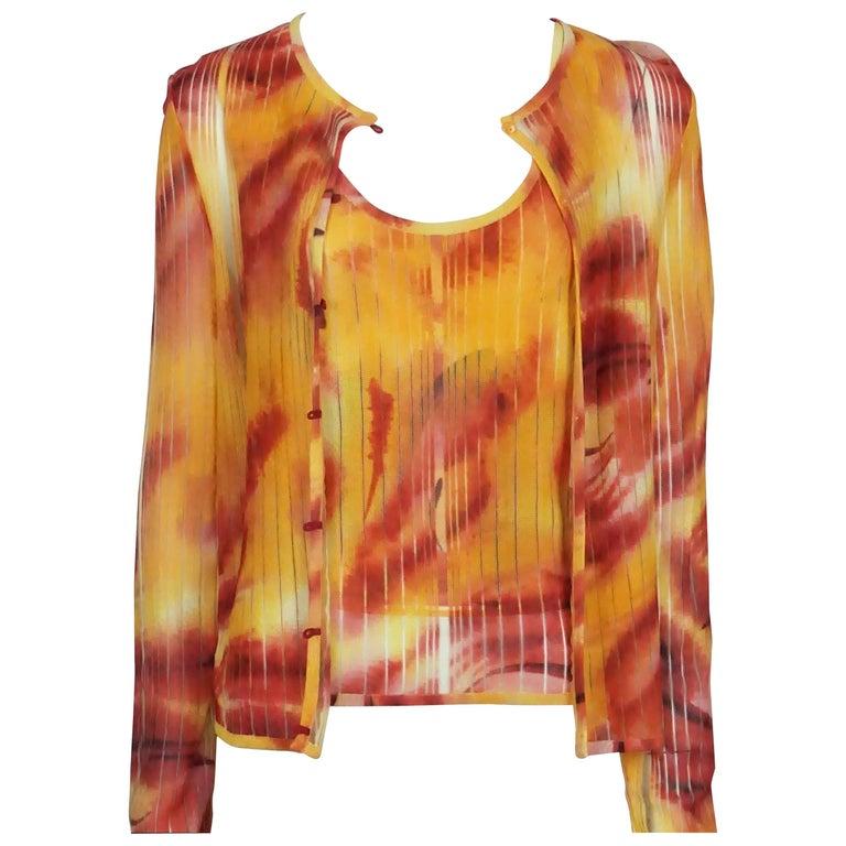 Christian Dior Yellow and Orange Summer Sweater Set - 10