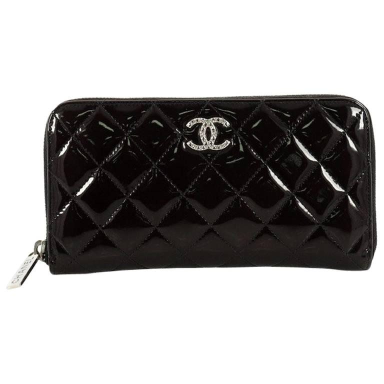 58684ba437717d Chanel Brilliant Zip Around Wallet Quilted Patent Long at 1stdibs