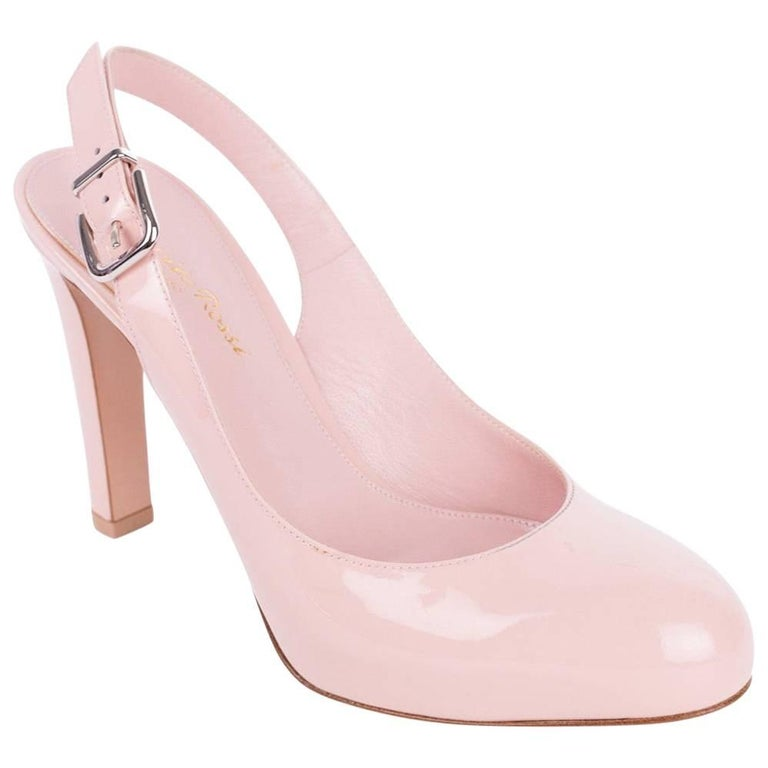 8312c5f057d Gianvito Rossi Pink Patent Leather Sling Back Almond Toe Pumps For Sale