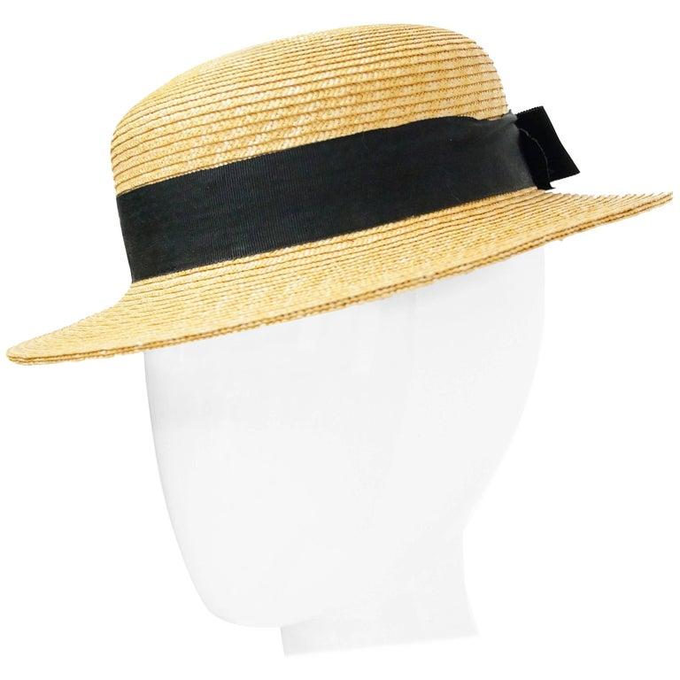 Rare 1980s Yves Saint Laurent Straw Boater Hat