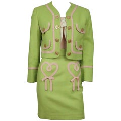 Moschino Cheap and Chic Jacket/Skirt/Top Lime Green Pique w/ Pink Silk Trim - 4