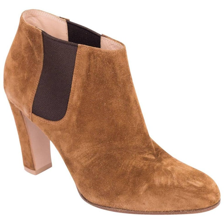 8dd95906d62 Gianvito Rossi Cognac Brown Suede Ankle Booties For Sale at 1stdibs