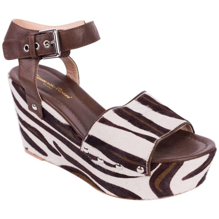 449e38931a7 Gianvito Rossi Brown Leather Zebra Print Platform Wedges For Sale at ...