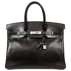 Hermès Black Box Calf  35 cm Birkin Bag with Palladium Hardware