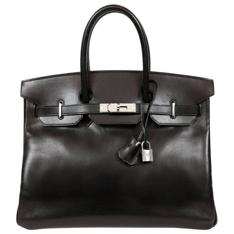 Hermès Black Box Calf  35 cm Birkin Bag with Palladium Hardware