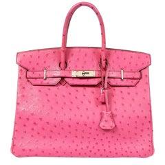 Hermès Pink Ostrich 35 cm Birkin Bag