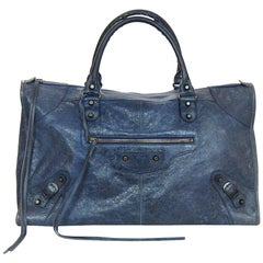Balenciaga Blue Leather Work Tote Bag with Dust Bag