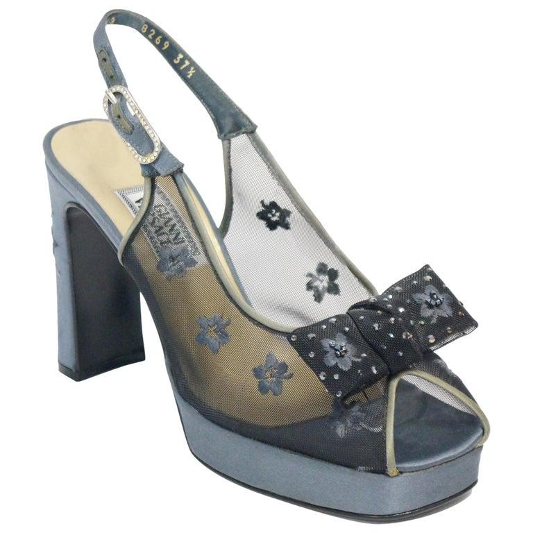 Versace Slate Blue Italian Satin Peep Toe Floral Sequin Heels, 1990s  For Sale