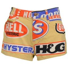 Vintage Hysteric Glamour 1990s Tan Logo Denim Shorts