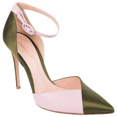 Gianvito Rossi Green Pink Mixed Satin Leather Pumps
