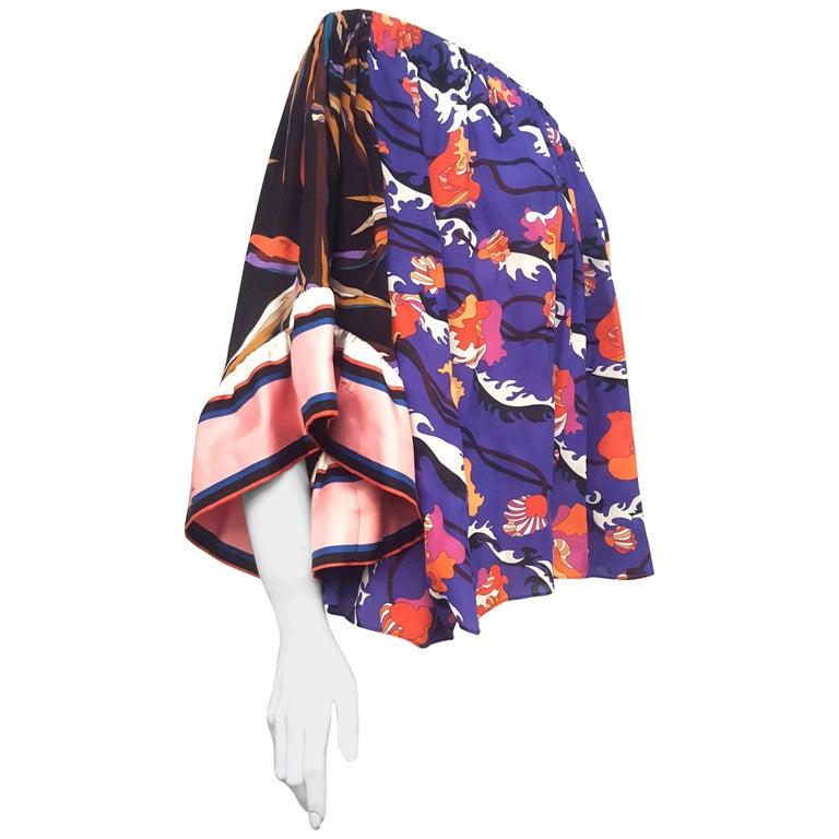 Extravagant Emilio Pucci Off Shoulder Silk Multi Color Floral Top