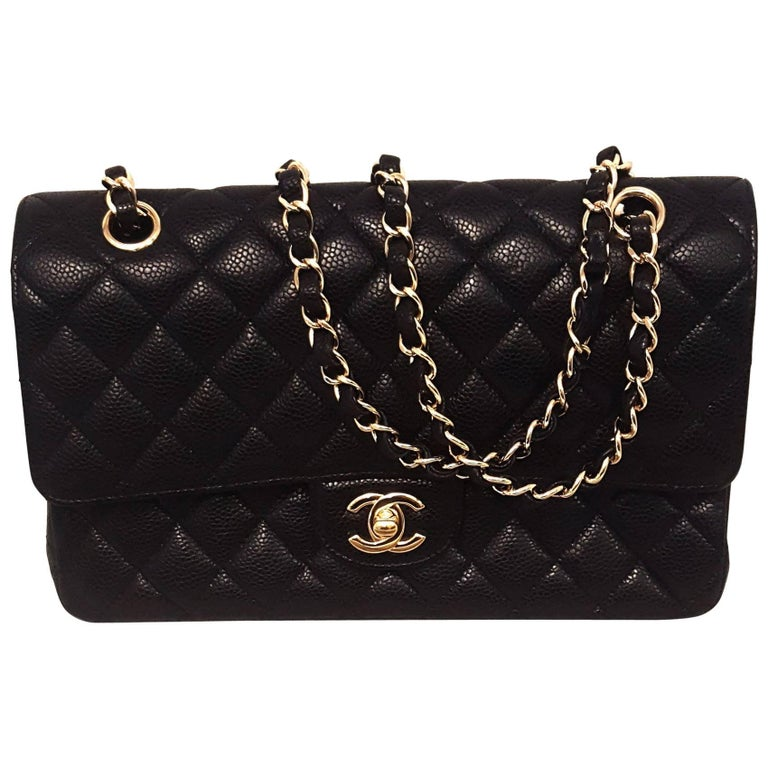 1b907ad7366d Chanel 2.55 Black Caviar Quilted Medium Double Flap Bag at 1stdibs
