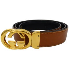 1980s Gucci Marmont Reversible Black & Tan Leather Belt
