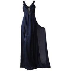 New Badgley Mischka Couture Silk Evening Dress Gown Sz 6