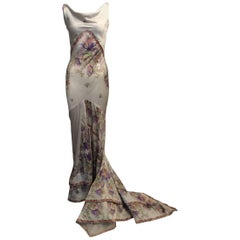 Roberto Cavalli Silk Ivory Gown w/ Gold, Purple and Coral Floral Detailing SzXS