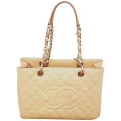 Chanel Tan Caviar Leather Grand Shopping Tote Bag