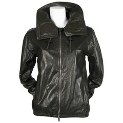 CELINE by Phoebe Philo hooded dark green leather jacket