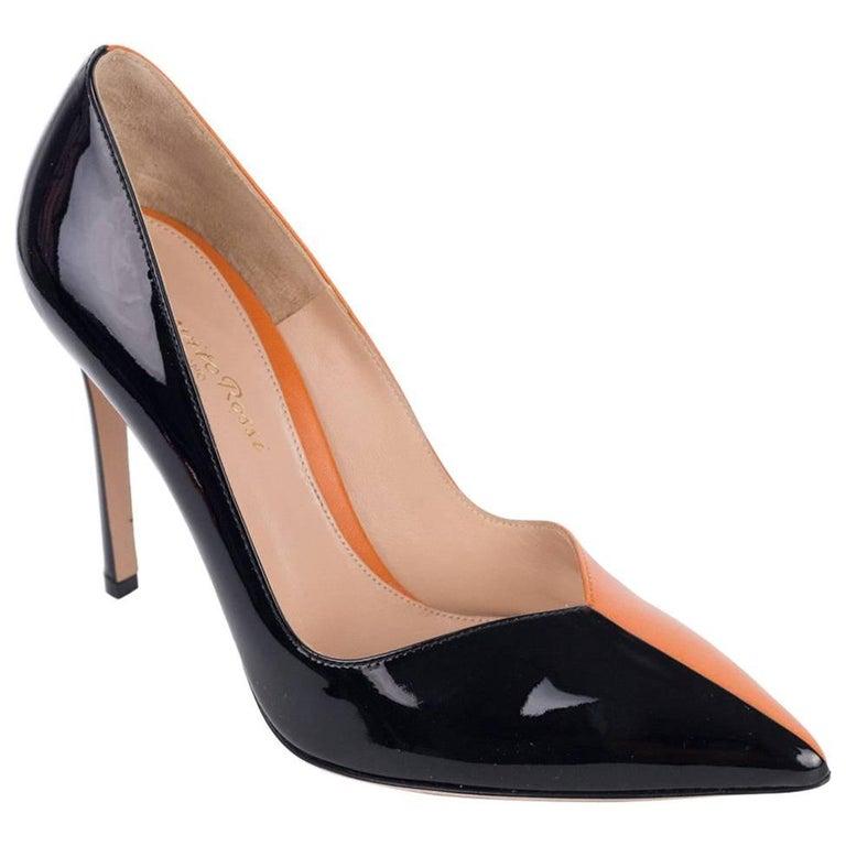 c8ab2b15047 Gianvito Rossi Black Orange Patent Leather Mixed Materials Pumps For Sale