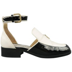 CHANEL Size 5.5 Black & White Leather Ankle Strap Loafer Flats