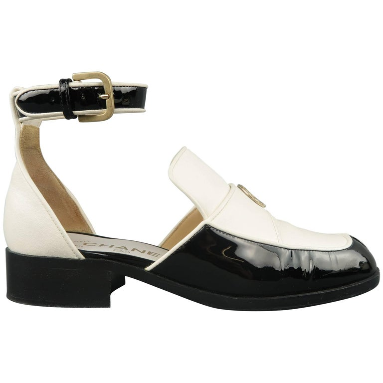 e6aea6e8fe1 CHANEL Size 5.5 Black and White Leather Ankle Strap Loafer Flats at ...