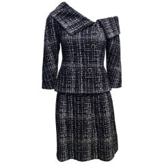 Chanel Navy, White Tweed Skirt Suit w/ Off-the-Shoulder Jacket Sz34/Us2