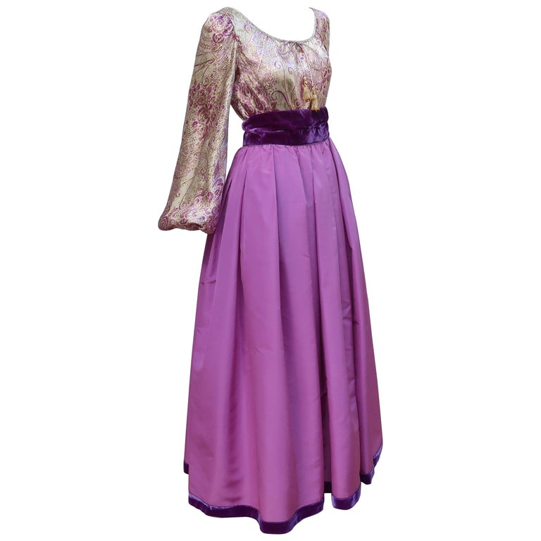 1970's Mignon Gold Lamé & Orchid Taffeta Peasant Dress Ensemble For Sale