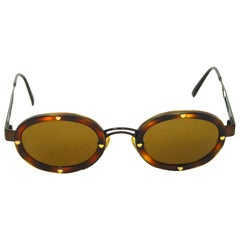 Moschino Vintage Brown Heart Studded Round Sunglasses with Case