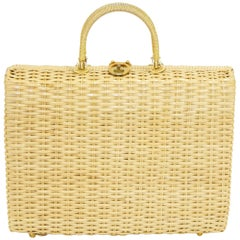 1960s Lesco Lona Woven Wicker Briefcase Style Handbag