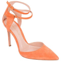 Gianvito Rossi Orange Cut-Out Suede Double Ankle Strap Pumps