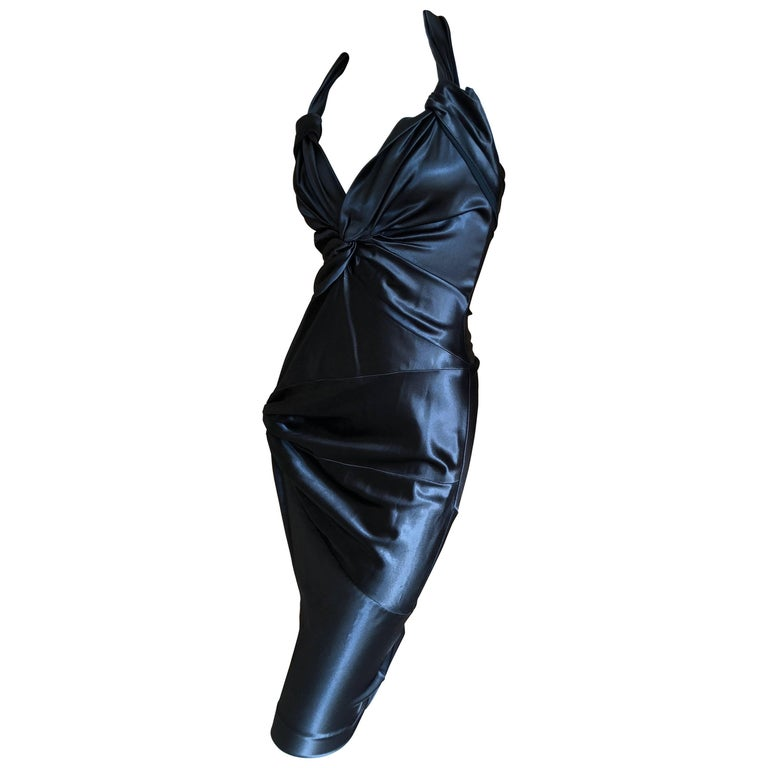 Christian Dior by John Galliano Black Satin Silk Lined Knot Dress