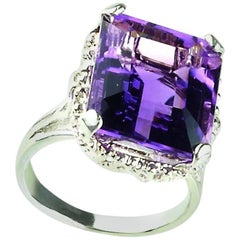 Amethyst Emerald Cut in Sterling Silver Ring February Birthstone