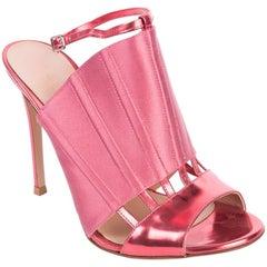 Gianvito Rossi Pink Corset Caged Metallic Leather Sandal Heels