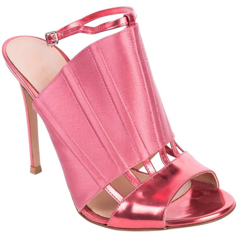 edcb3812741e Gianvito Rossi Pink Corset Caged Metallic Leather Sandal Heels For Sale