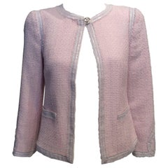 Chanel Light Pink Tweed Jacket with White Nylon Trim and Chanel Hearts Sz34/Us2