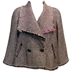 Chanel Pink, White, Black Tweed Fringe A-Line Jacket w/ Gold Buttons Sz34/Us2