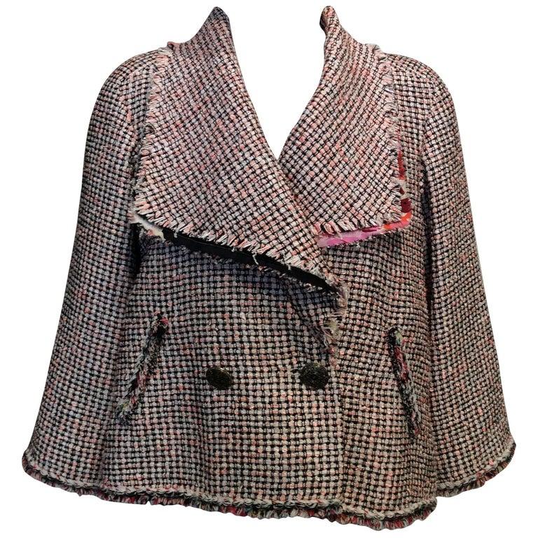 Chanel Pink, White, Black Tweed Fringe A-Line Jacket w/ Gold Buttons Sz34/Us2 For Sale