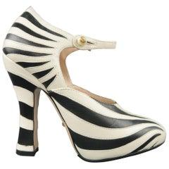GUCCI Size 6 Black & Beige Leather LESLEY Zebra Mary Jane Pumps