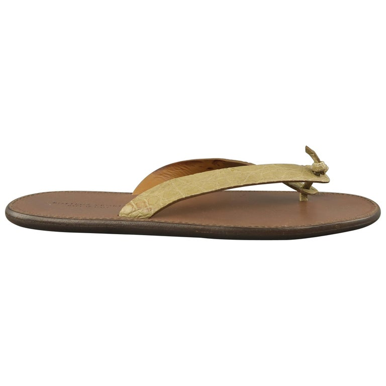 Men's BOTTEGA VENETA Size 8 Beige Alligator Textured Thong Sandals